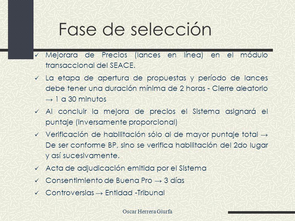 Oscar Herrera Giurfa Fase de selección Mejorara de Precios (lances en línea) en el módulo transaccional del SEACE. La etapa de apertura de propuestas