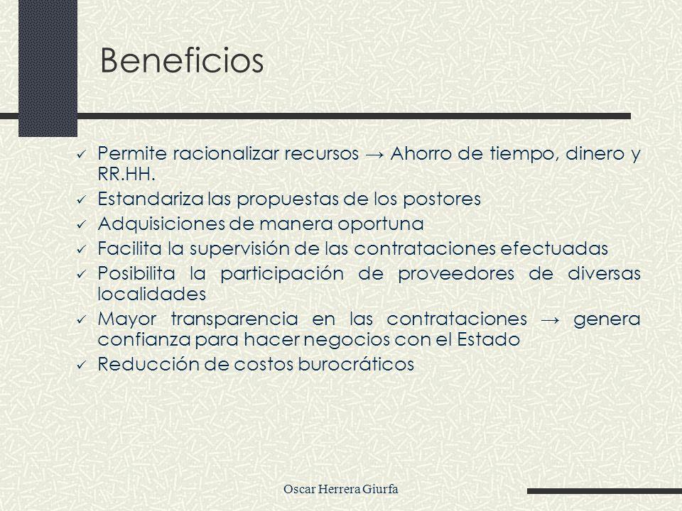 Oscar Herrera Giurfa Beneficios Permite racionalizar recursos Ahorro de tiempo, dinero y RR.HH. Estandariza las propuestas de los postores Adquisicion
