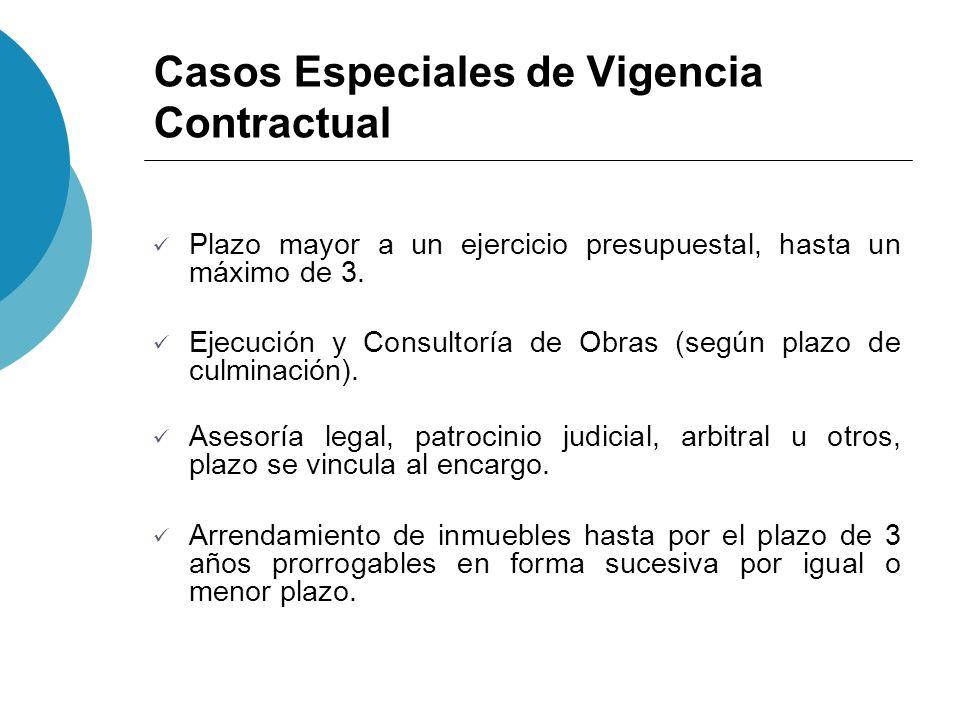 Casos Especiales de Vigencia Contractual Plazo mayor a un ejercicio presupuestal, hasta un máximo de 3. Ejecución y Consultoría de Obras (según plazo