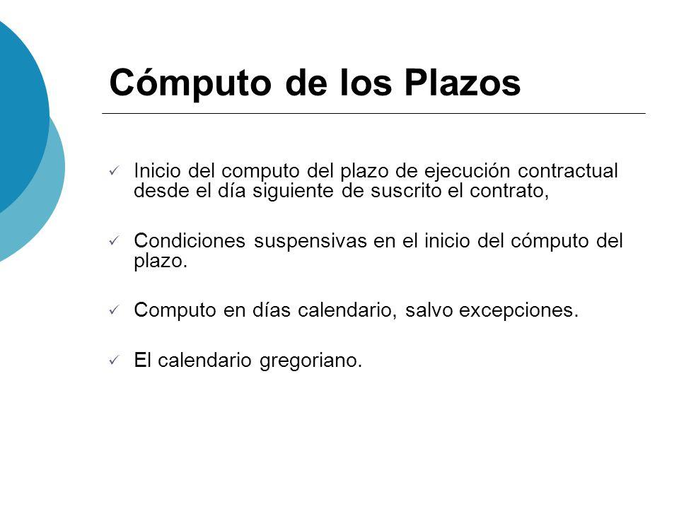 Cómputo de los Plazos Inicio del computo del plazo de ejecución contractual desde el día siguiente de suscrito el contrato, Condiciones suspensivas en