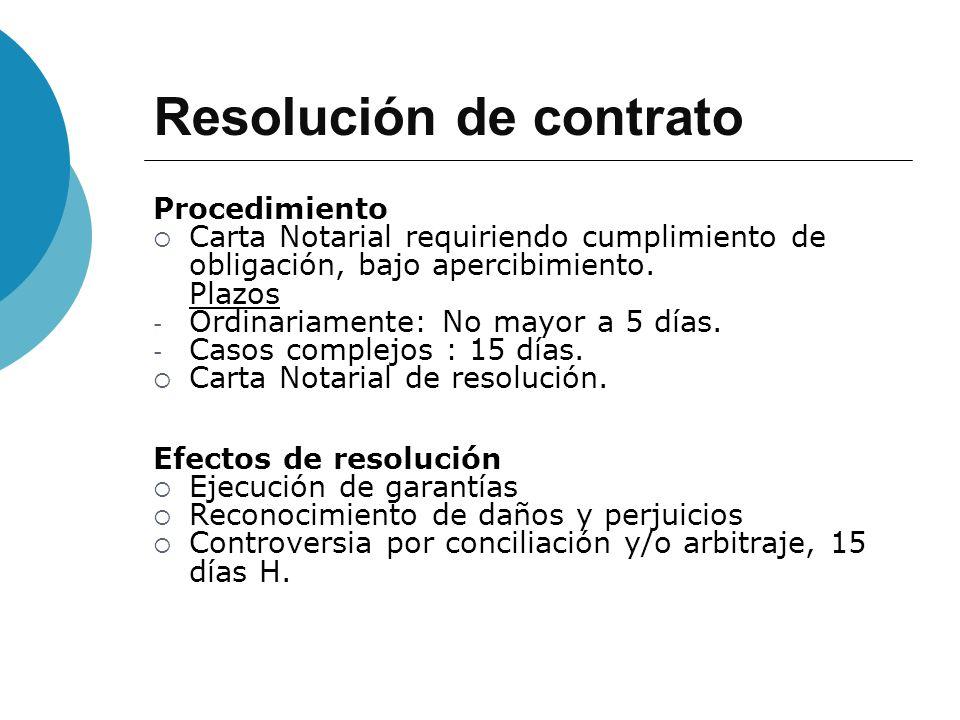 Resolución de contrato Procedimiento Carta Notarial requiriendo cumplimiento de obligación, bajo apercibimiento. Plazos - Ordinariamente: No mayor a 5