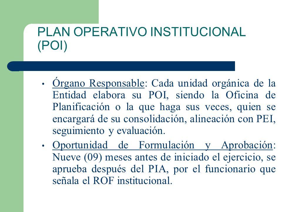 PLAN OPERATIVO INSTITUCIONAL (POI) CONTENIDO: 1.Objetivos institucionales. 2.Actividades, tareas y acciones (metas presupuestarias). 3.Unidad de medid
