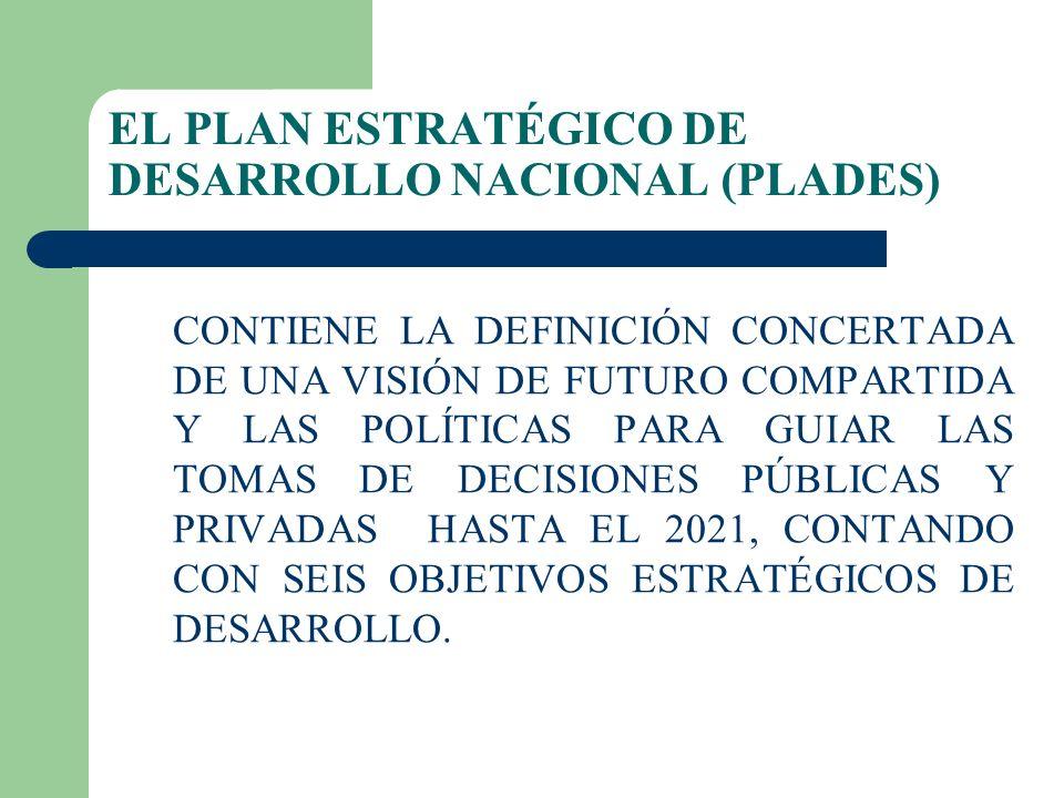 EL PLAN ESTRATÉGICO DE DESARROLLO NACIONAL (PLADES) CONTIENE LA DEFINICIÓN CONCERTADA DE UNA VISIÓN DE FUTURO COMPARTIDA Y LAS POLÍTICAS PARA GUIAR LAS TOMAS DE DECISIONES PÚBLICAS Y PRIVADAS HASTA EL 2021, CONTANDO CON SEIS OBJETIVOS ESTRATÉGICOS DE DESARROLLO.