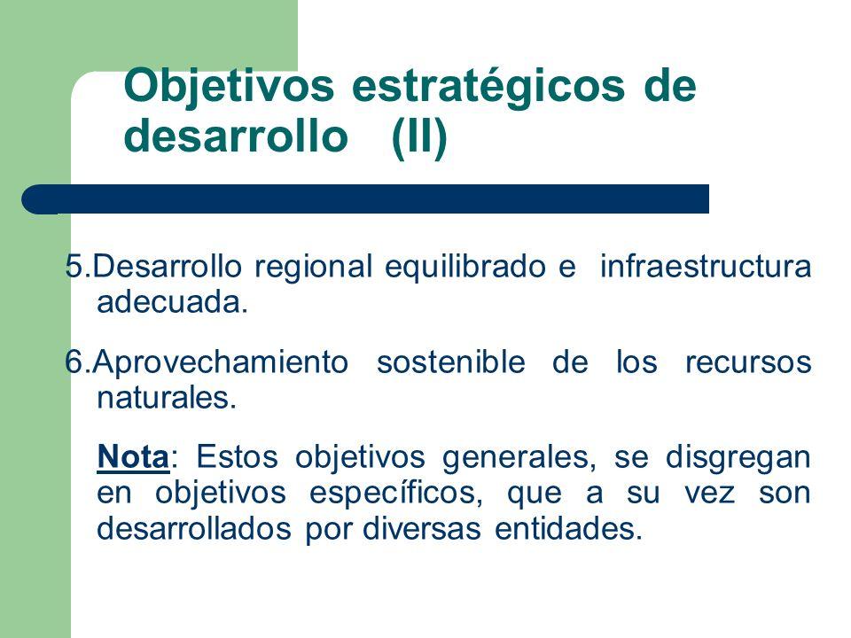 Objetivos estratégicos de desarrollo (II) 5.Desarrollo regional equilibrado e infraestructura adecuada.