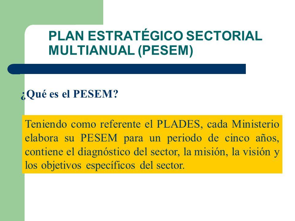 PLAN ESTRATÉGICO SECTORIAL MULTIANUAL (PESEM) ¿Qué es el PESEM.