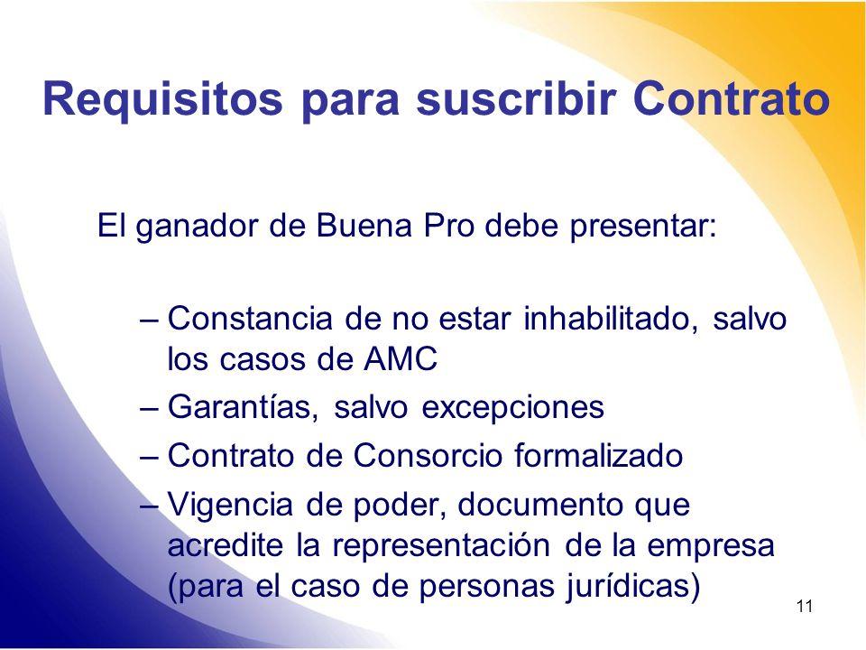 11 Requisitos para suscribir Contrato El ganador de Buena Pro debe presentar: –Constancia de no estar inhabilitado, salvo los casos de AMC –Garantías,