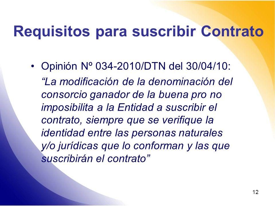 12 Requisitos para suscribir Contrato Opinión Nº 034-2010/DTN del 30/04/10: La modificación de la denominación del consorcio ganador de la buena pro n