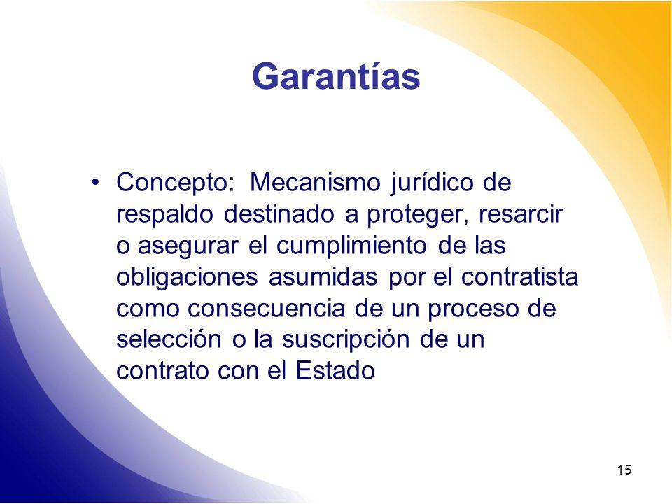 15 Garantías Concepto: Mecanismo jurídico de respaldo destinado a proteger, resarcir o asegurar el cumplimiento de las obligaciones asumidas por el co