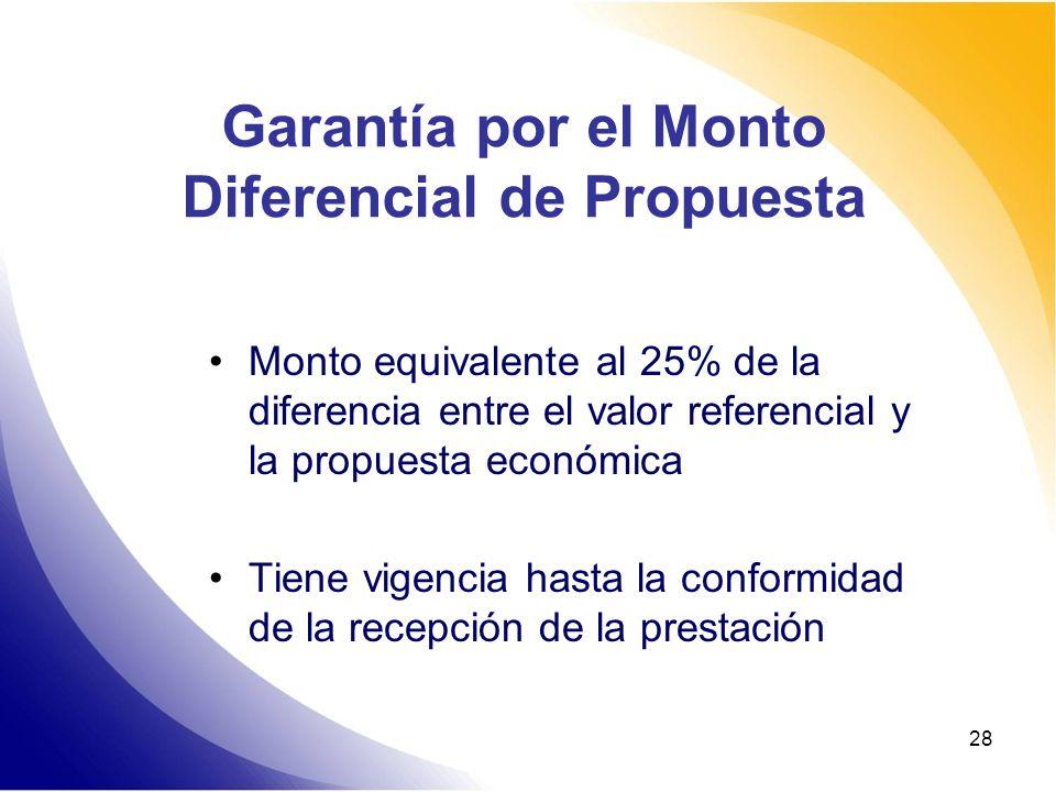 28 Garantía por el Monto Diferencial de Propuesta Monto equivalente al 25% de la diferencia entre el valor referencial y la propuesta económica Tiene
