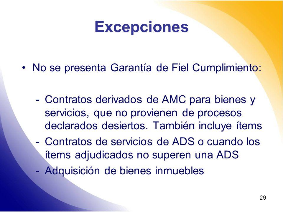 29 Excepciones No se presenta Garantía de Fiel Cumplimiento: -Contratos derivados de AMC para bienes y servicios, que no provienen de procesos declara
