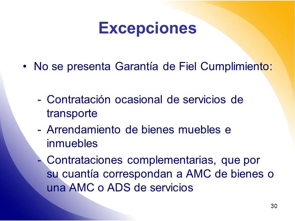 30 Excepciones No se presenta Garantía de Fiel Cumplimiento: -Contratación ocasional de servicios de transporte -Arrendamiento de bienes muebles e inm