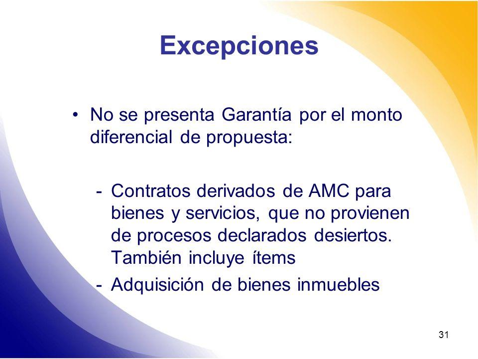 31 Excepciones No se presenta Garantía por el monto diferencial de propuesta: -Contratos derivados de AMC para bienes y servicios, que no provienen de