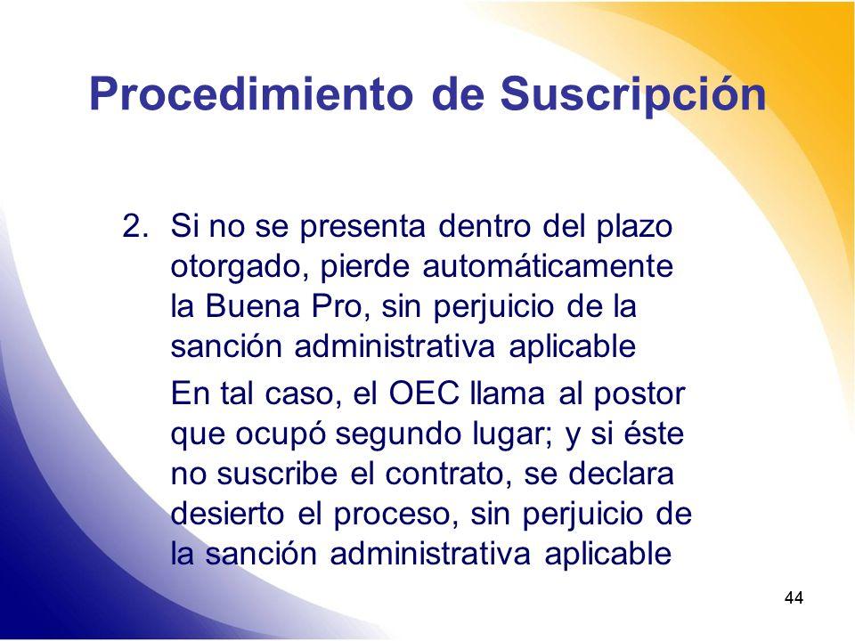 44 Procedimiento de Suscripción 2.Si no se presenta dentro del plazo otorgado, pierde automáticamente la Buena Pro, sin perjuicio de la sanción admini