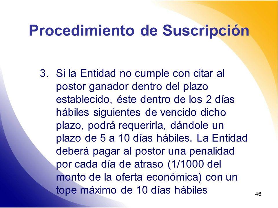 46 Procedimiento de Suscripción 3.Si la Entidad no cumple con citar al postor ganador dentro del plazo establecido, éste dentro de los 2 días hábiles