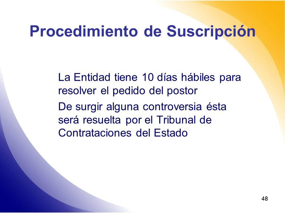48 Procedimiento de Suscripción La Entidad tiene 10 días hábiles para resolver el pedido del postor De surgir alguna controversia ésta será resuelta p