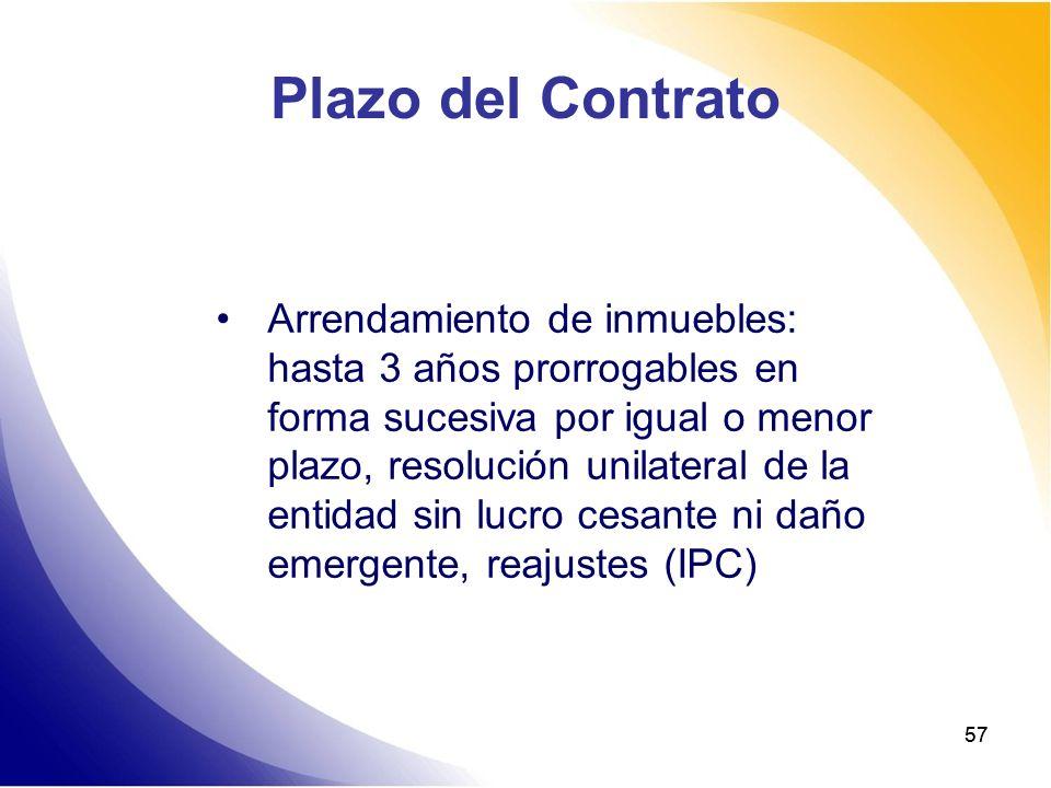 57 Plazo del Contrato Arrendamiento de inmuebles: hasta 3 años prorrogables en forma sucesiva por igual o menor plazo, resolución unilateral de la ent