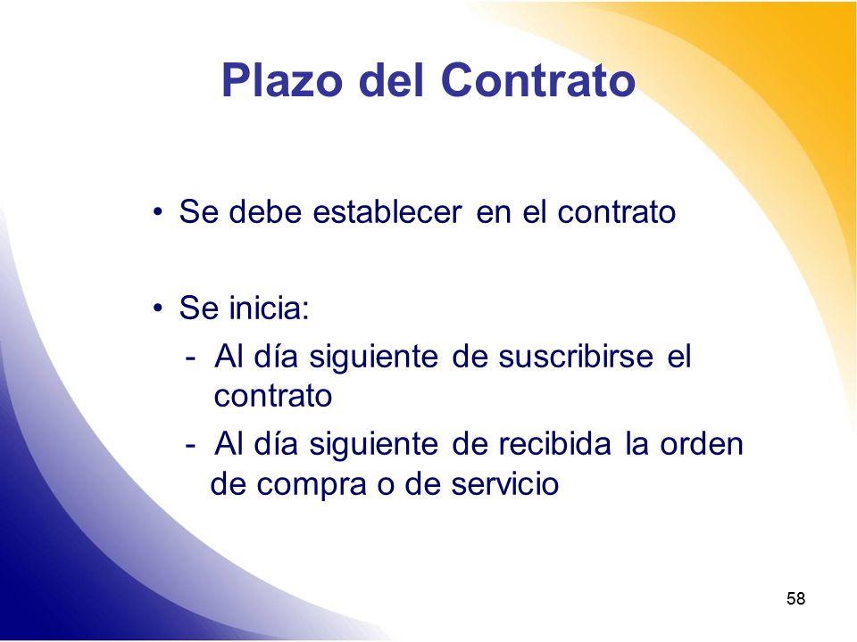 58 Plazo del Contrato Se debe establecer en el contrato Se inicia: - Al día siguiente de suscribirse el contrato - Al día siguiente de recibida la ord