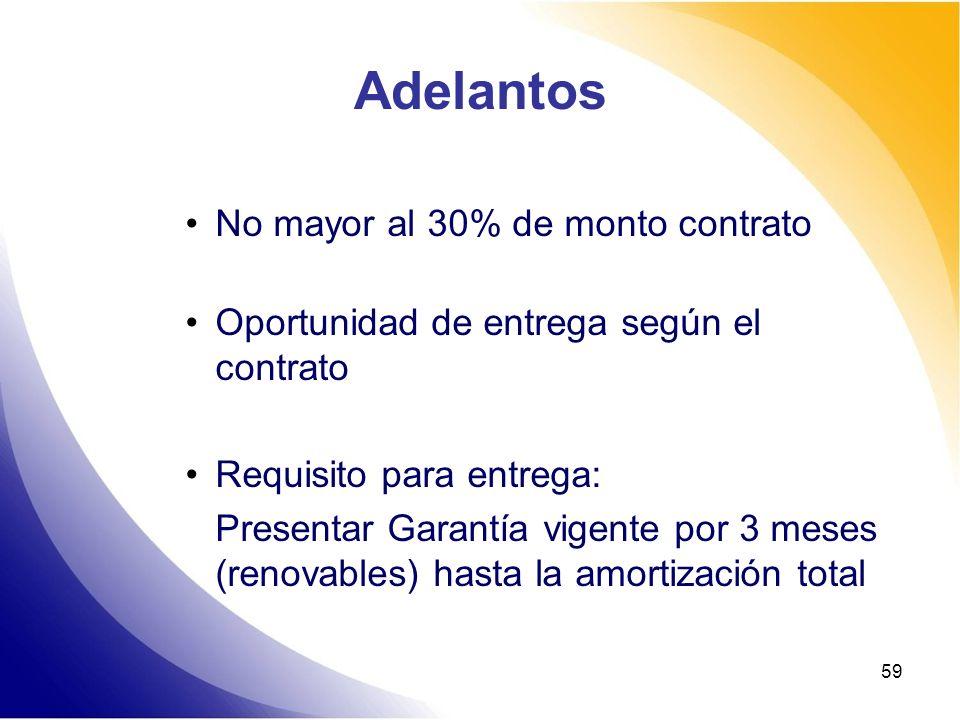 Adelantos No mayor al 30% de monto contrato Oportunidad de entrega según el contrato Requisito para entrega: Presentar Garantía vigente por 3 meses (r
