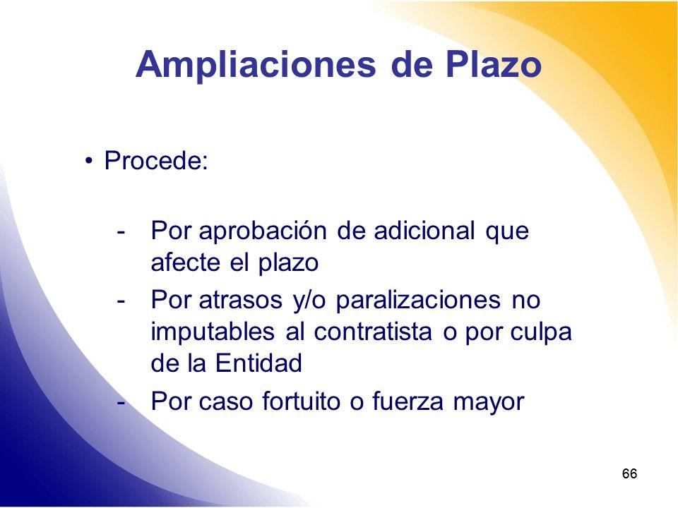 66 Ampliaciones de Plazo Procede: -Por aprobación de adicional que afecte el plazo -Por atrasos y/o paralizaciones no imputables al contratista o por