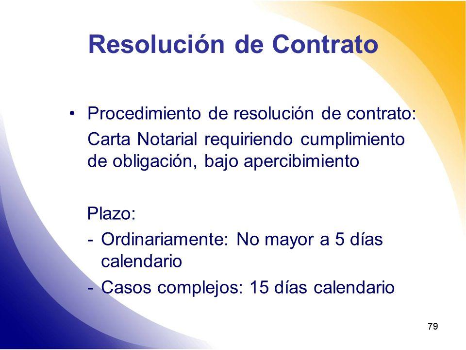 79 Resolución de Contrato Procedimiento de resolución de contrato: Carta Notarial requiriendo cumplimiento de obligación, bajo apercibimiento Plazo: -