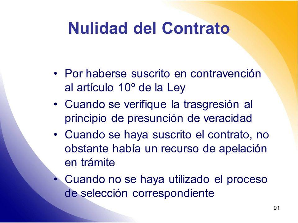 91 Nulidad del Contrato Por haberse suscrito en contravención al artículo 10º de la Ley Cuando se verifique la trasgresión al principio de presunción
