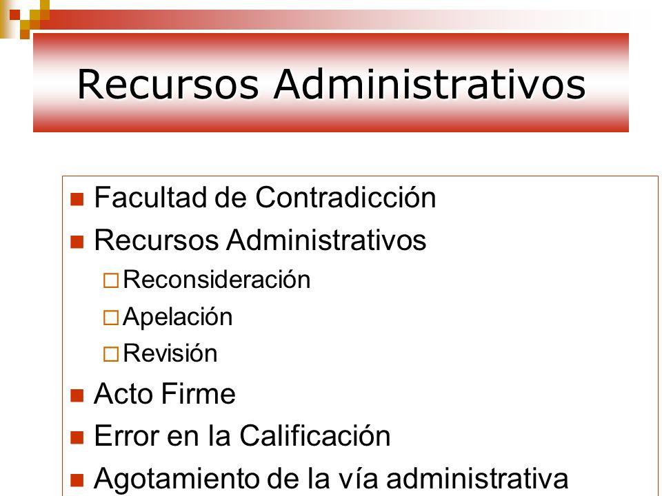 Recursos Administrativos Facultad de Contradicción Recursos Administrativos Reconsideración Apelación Revisión Acto Firme Error en la Calificación Ago