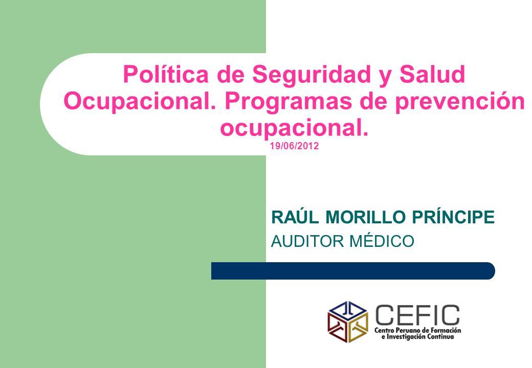 Política de Seguridad y Salud Ocupacional. Programas de prevención ocupacional. 19/06/2012 RAÚL MORILLO PRÍNCIPE AUDITOR MÉDICO