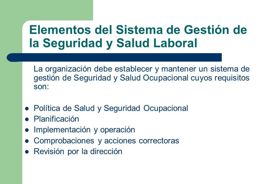 Elementos del Sistema de Gestión de la Seguridad y Salud Laboral La organización debe establecer y mantener un sistema de gestión de Seguridad y Salud