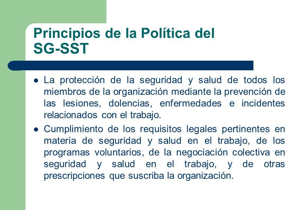 Principios de la Política del SG-SST La protección de la seguridad y salud de todos los miembros de la organización mediante la prevención de las lesi