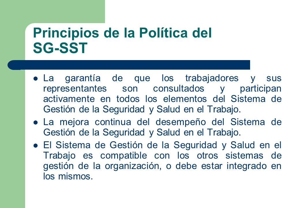 Principios de la Política del SG-SST La garantía de que los trabajadores y sus representantes son consultados y participan activamente en todos los el