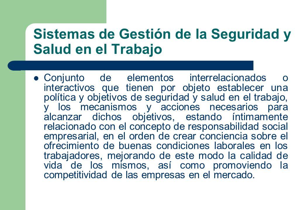 Sistemas de Gestión de la Seguridad y Salud en el Trabajo Conjunto de elementos interrelacionados o interactivos que tienen por objeto establecer una