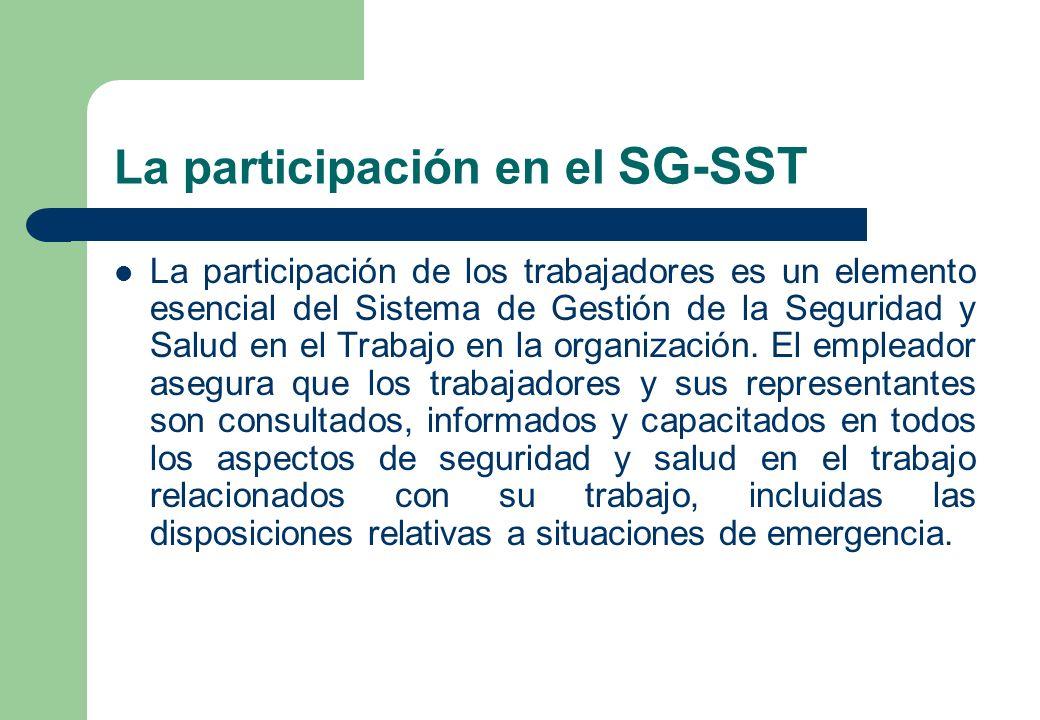La participación en el SG-SST La participación de los trabajadores es un elemento esencial del Sistema de Gestión de la Seguridad y Salud en el Trabaj