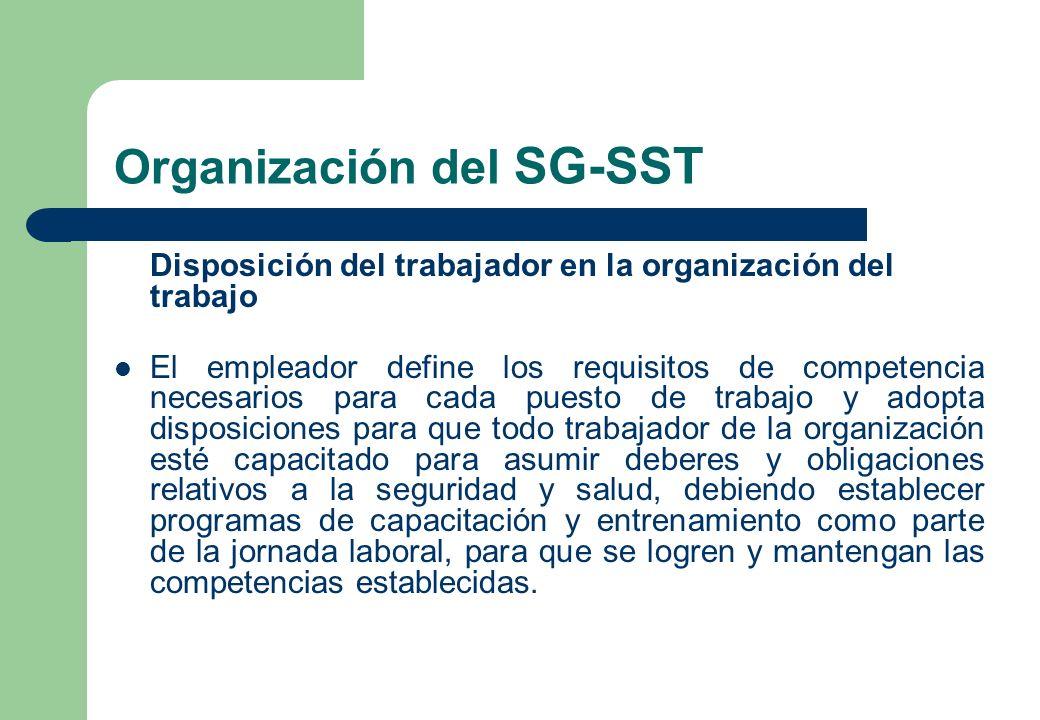 Organización del SG-SST Disposición del trabajador en la organización del trabajo El empleador define los requisitos de competencia necesarios para ca