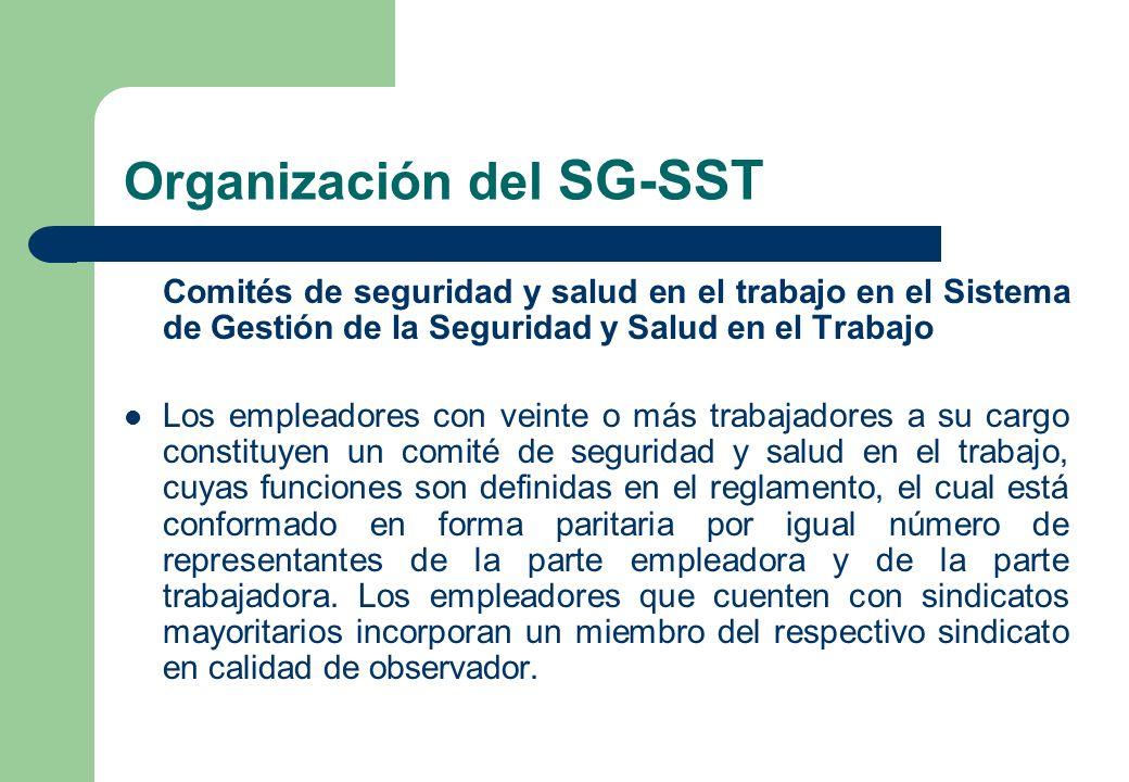 Organización del SG-SST Comités de seguridad y salud en el trabajo en el Sistema de Gestión de la Seguridad y Salud en el Trabajo Los empleadores con