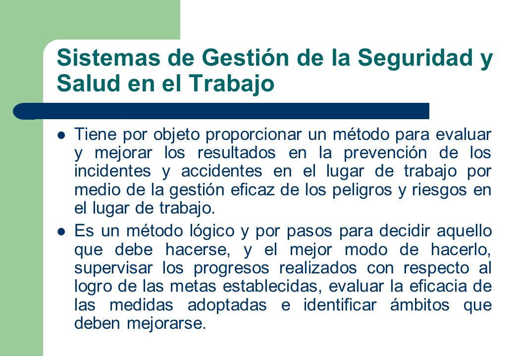Sistemas de Gestión de la Seguridad y Salud en el Trabajo Tiene por objeto proporcionar un método para evaluar y mejorar los resultados en la prevenci
