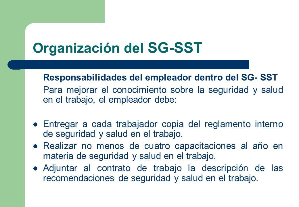 Organización del SG-SST Responsabilidades del empleador dentro del SG- SST Para mejorar el conocimiento sobre la seguridad y salud en el trabajo, el e