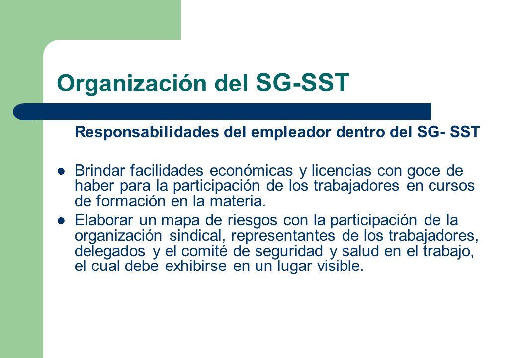 Organización del SG-SST Responsabilidades del empleador dentro del SG- SST Brindar facilidades económicas y licencias con goce de haber para la partic