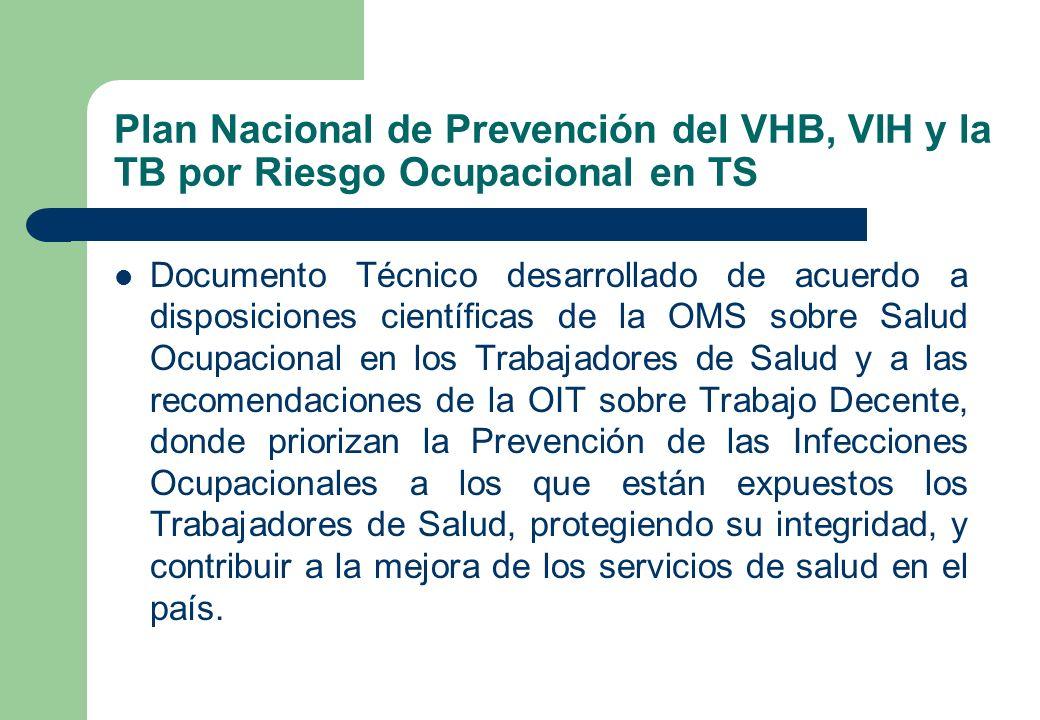 Plan Nacional de Prevención del VHB, VIH y la TB por Riesgo Ocupacional en TS Documento Técnico desarrollado de acuerdo a disposiciones científicas de