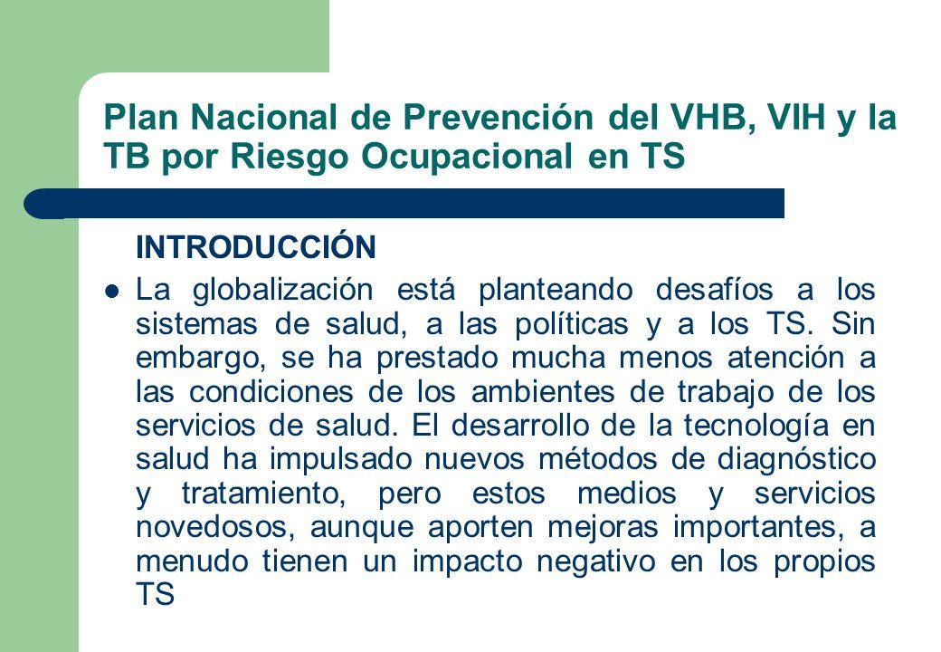 Plan Nacional de Prevención del VHB, VIH y la TB por Riesgo Ocupacional en TS INTRODUCCIÓN La globalización está planteando desafíos a los sistemas de
