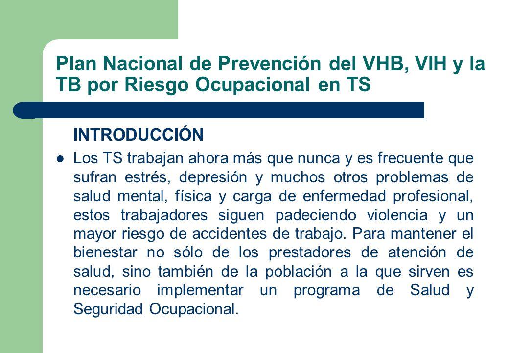 Plan Nacional de Prevención del VHB, VIH y la TB por Riesgo Ocupacional en TS INTRODUCCIÓN Los TS trabajan ahora más que nunca y es frecuente que sufr