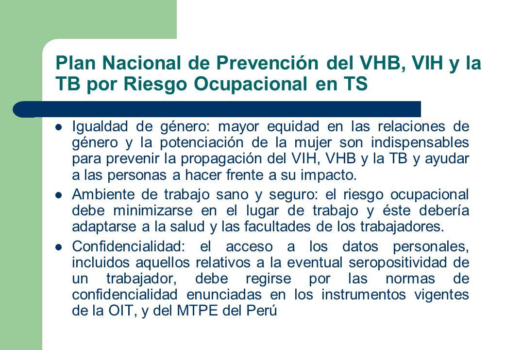 Plan Nacional de Prevención del VHB, VIH y la TB por Riesgo Ocupacional en TS Igualdad de género: mayor equidad en las relaciones de género y la poten