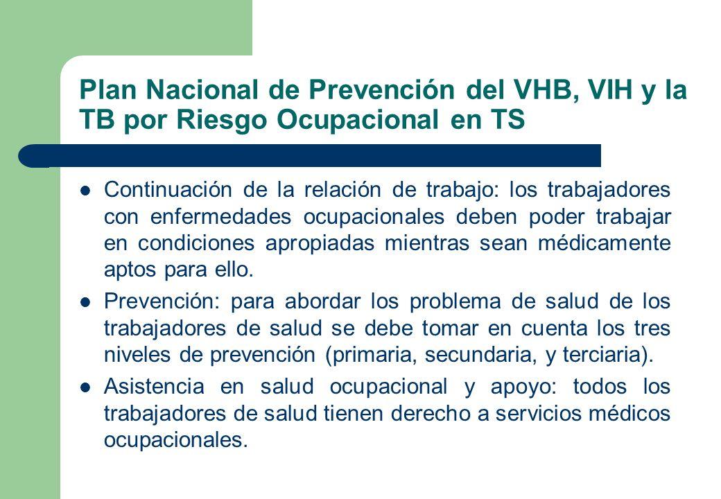 Plan Nacional de Prevención del VHB, VIH y la TB por Riesgo Ocupacional en TS Continuación de la relación de trabajo: los trabajadores con enfermedade
