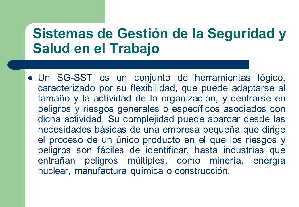 Sistemas de Gestión de la Seguridad y Salud en el Trabajo Un SG-SST es un conjunto de herramientas lógico, caracterizado por su flexibilidad, que pued
