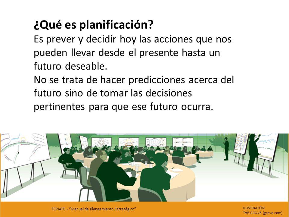 ¿Qué es planificación? Es prever y decidir hoy las acciones que nos pueden llevar desde el presente hasta un futuro deseable. No se trata de hacer pre