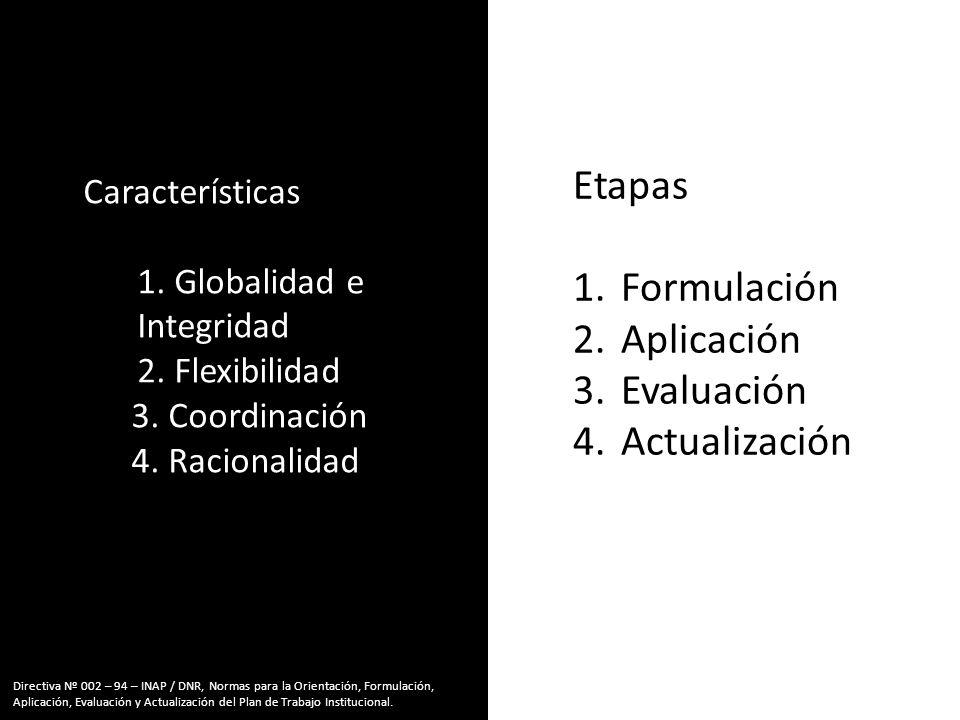 Características 1.1. Globalidad e Integridad 2.2. Flexibilidad 3.3. Coordinación 4.4. Racionalidad Etapas 1.Formulación 2.Aplicación 3.Evaluación 4.Ac