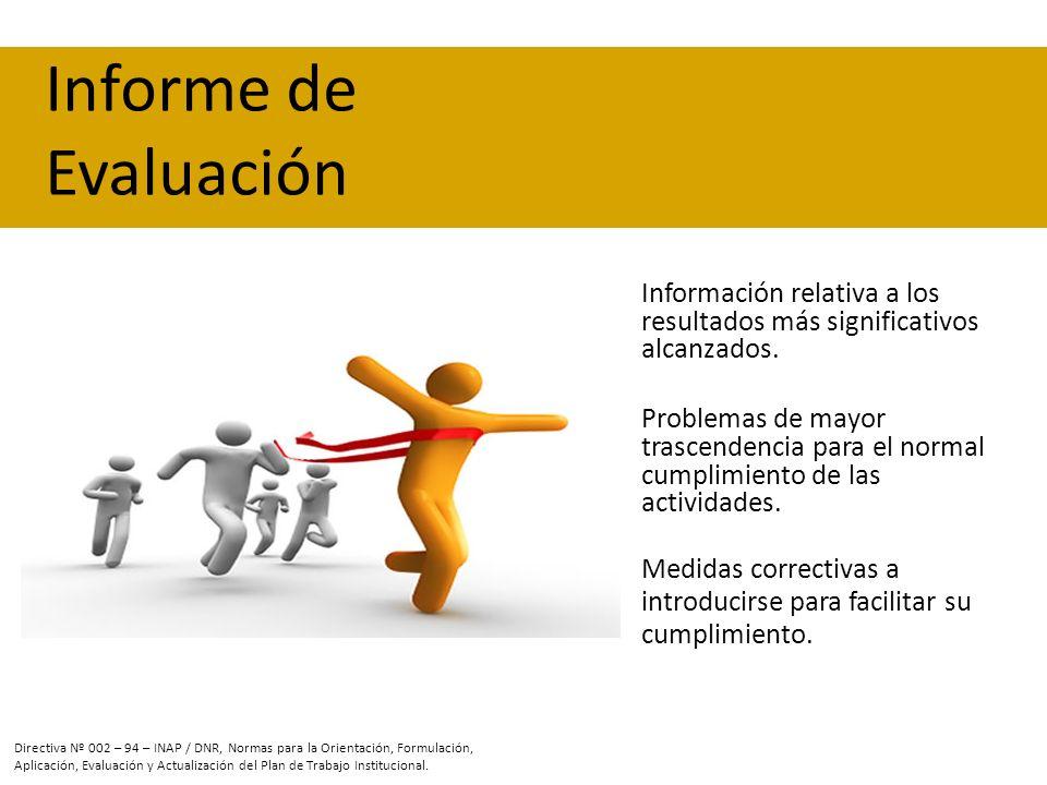 Información relativa a los resultados más significativos alcanzados. Problemas de mayor trascendencia para el normal cumplimiento de las actividades.