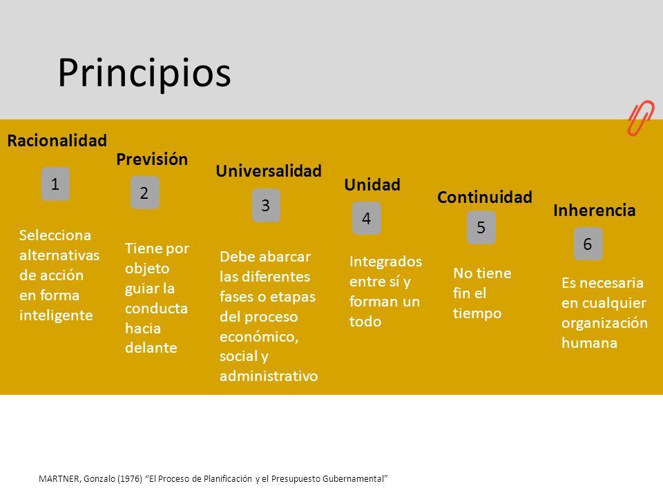 Principios MARTNER, Gonzalo (1976) El Proceso de Planificación y el Presupuesto Gubernamental 2 3 4 5 1 Selecciona alternativas de acción en forma int