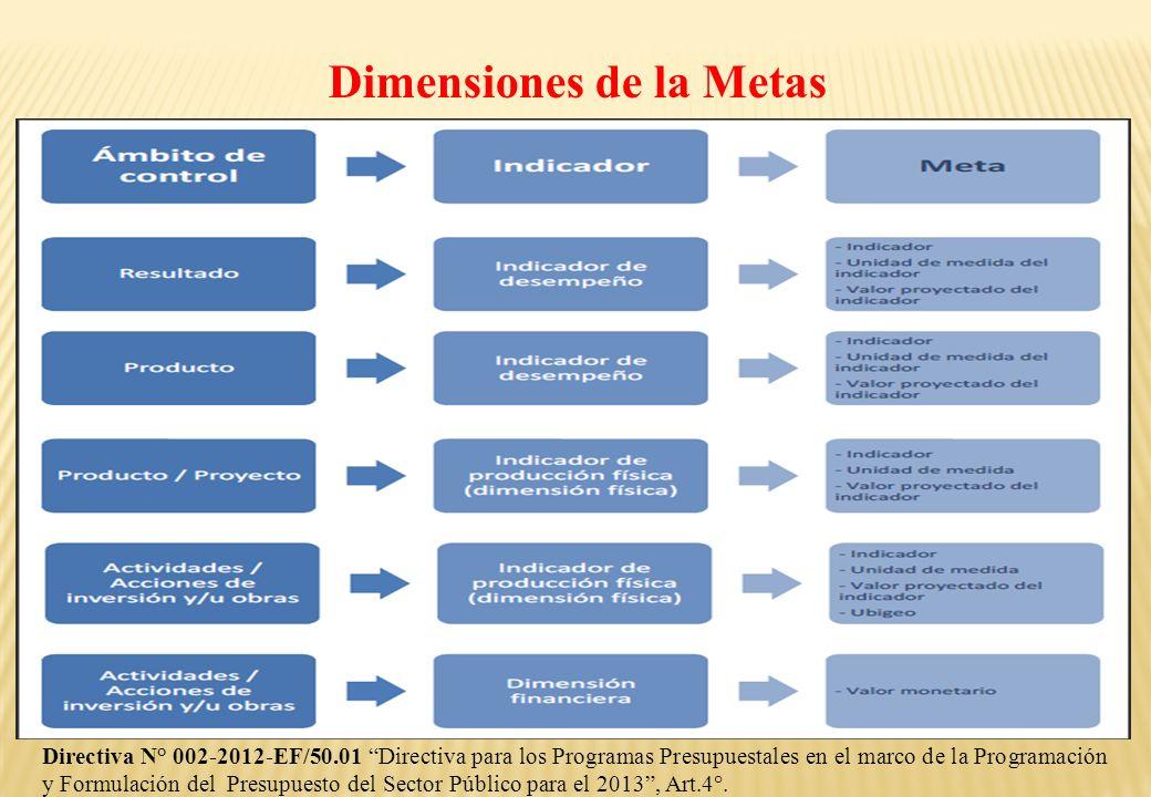 Dimensiones de la Metas Directiva N° 002-2012-EF/50.01 Directiva para los Programas Presupuestales en el marco de la Programación y Formulación del Pr