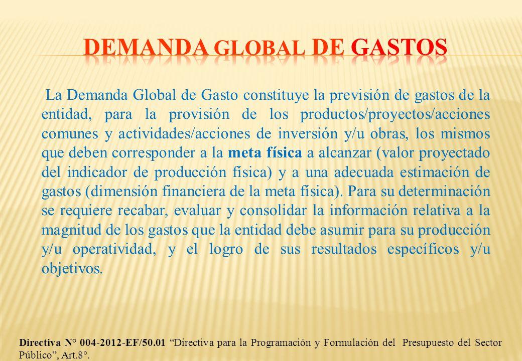 La Demanda Global de Gasto constituye la previsión de gastos de la entidad, para la provisión de los productos/proyectos/acciones comunes y actividade