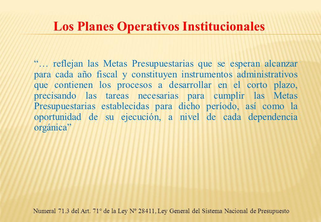 Los Planes Operativos Institucionales … reflejan las Metas Presupuestarias que se esperan alcanzar para cada año fiscal y constituyen instrumentos adm
